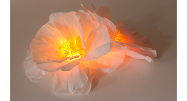 Paper flower centerpiece meetings conventions zipper 8 lightings ethereal crepe paper hydrangea centerpieces are lit from within by a battery powered led light so unsightly power cords are left out of mightylinksfo