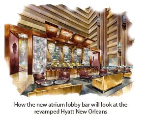 Rendering of the Hyatt New Orleans atrium bar