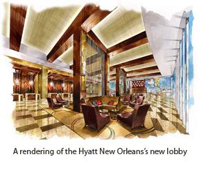 Rendering of the Hyatt New Orleans lobby