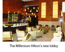 The new lobby at the Millenium Hilton