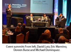 Cvent summitt: From left, David Lutz, Eric Mannino, Doreen Burse and Michael Dominguez