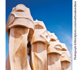 Gaudi chimneys from Barcelona