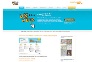 UX Week website, conference