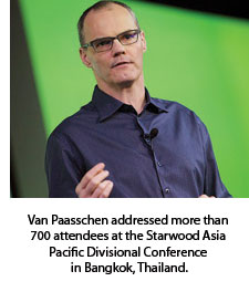 Van Paasschen addressing attendees at the Starwood Asia Pacific Divisional Conference