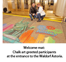Chalk art at the Waldorf Astoria