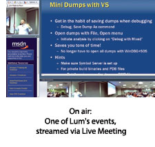 Lums events via Live Meeting