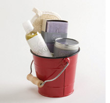 Bucket with artisan bath gifts