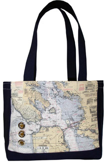 Bag decorated with a navigation map