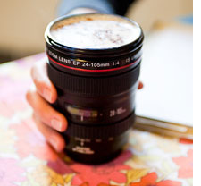 Camera lens mug meetings gifts
