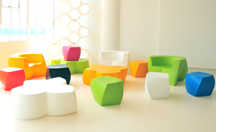 Colorful seating cubes