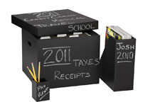 Chalkboard filing items