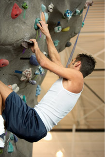 Rock-climber on a wall