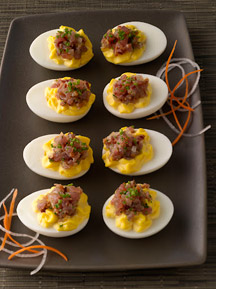 Deviled eggs with ahi tartar