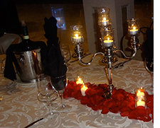 Rose petals and votives
