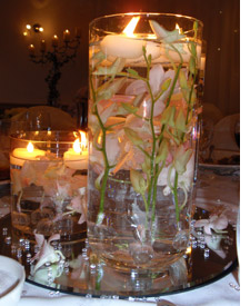 Flowers and floating candles