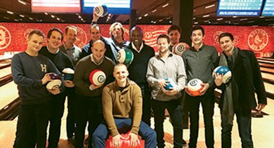 Employees Etouches Belgium office bowling
